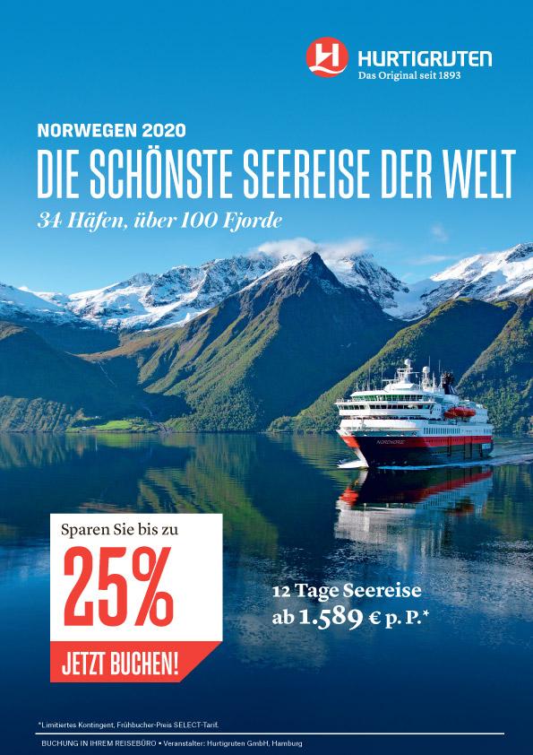 Hurtigruten Norwegen Frühbucher 2020