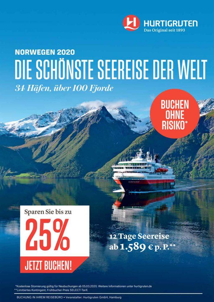 Hurtigruten Frühbucher Norwegen Angebot 2020