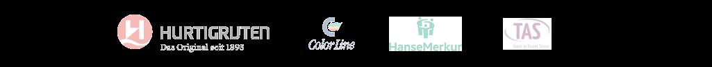Logos von Hurtigruten Color Line Hanse Merkur Versicherung TAS Versicherung