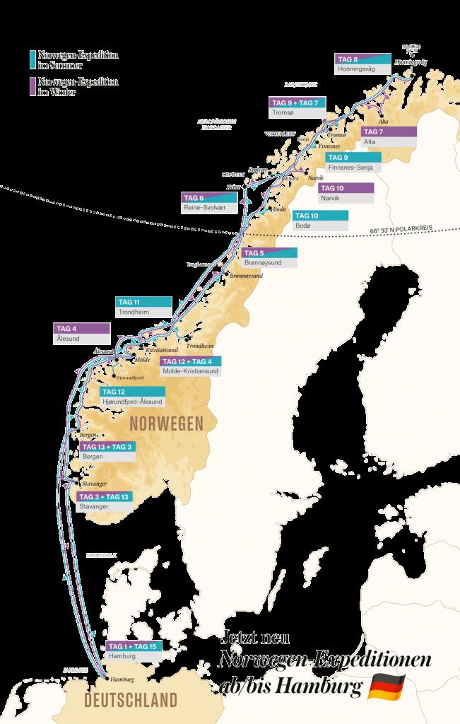 Hurtigruten Angebote: Norwegen Expedition ab/bis Hamburg 2021-2022