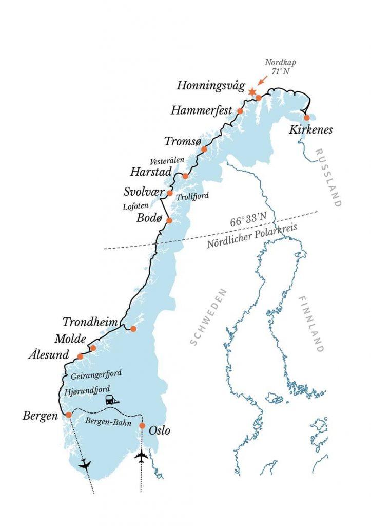 Hurtigruten Angebote: Postschiffroute Oslo Bergen Kirkenes Flug